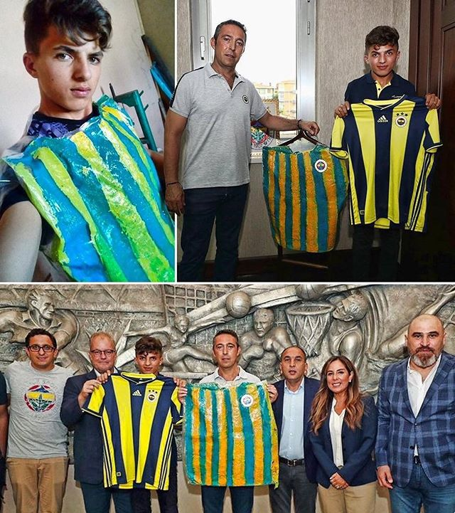 A Fenerbahçe supporter didn't have the money to buy the shirt, so he made one from a plastic bag.  When the chairman saw this, he invited the fan to the club and gave him the real thing. Love the game. #football #soccer #fifa #uefa #championsleague #premierleague